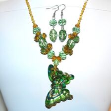 """FN237 Yellow Crystal & Green Butterfly Lampworked Glass 16""""+ Necklace & Earrings"""