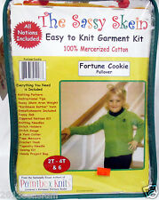 The Sassy Skein~FORTUNE COOKIE~Easy PULLOVER SWEATER Knitting Kit~ 2T-4T &6~NEW