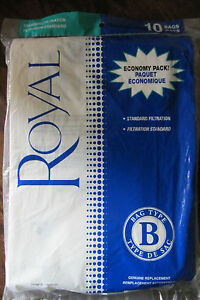 """ROYAL VACUUM BAGS - ECONOMY PACK - 10 BAGS TYPE """"B"""" -STD. FILTRATION/REPLACEMENT"""