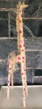 "Fun 40"" Tall Raffia Giraffe Hand Made In Madagascar- Toy- Collectible"