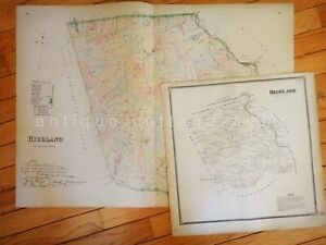 LOT 1883 antique 2 MAPS HIGHLAND pa from breou's atlas 28.5x20.5 large AND OTHER