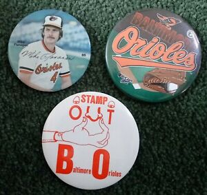 3 Baltimore Orioles Pins Buttons Mike Flanagan Bird Stamp Out
