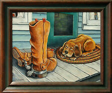 Country Roots and Cowboy Boots - an original acrylic painting 2000-Now, Signed