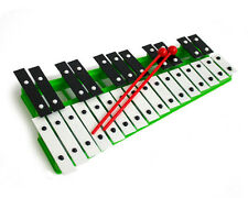 Professional CHROMATIC GLOCKENSPIEL Xylophone with Beaters & Metal Keys - Green