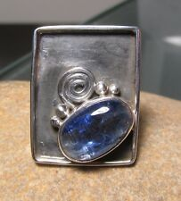 925 sterling silver blue kyanite large lipped setting ring UK P-P¼/US 8