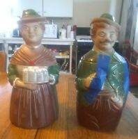 Pair of Vintage German Character Lidded Beer Steins
