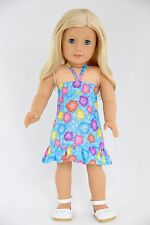 Sundress Blue Multi Flowers American Made Doll Clothes For 18 inch Girls Dolls