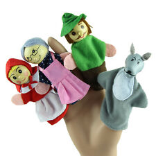 4 Pcs/set Little Red Riding Finger Puppets Wooden Headed Baby Educational Toy EF