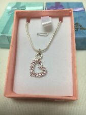 Childrens Girls Necklace Silver Plated Pink Heart With Free Gift Box