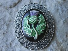 2 IN 1 - HAND PAINTED SCOTTISH THISTLE CAMEO BROOCH / PIN / PENDANT -CELTIC