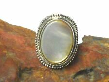 Mother of  PEARL  Sterling  Silver 925  Gemstone  RING  -  Size: O