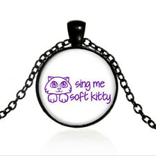 Vintage Soft Kitty Grass Black Dome glass Photo Art Chain Pendant Necklace