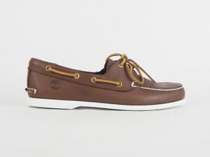 Mens Timberland Brig Classic 2 Eye Boat 29574 Brown Leather Lace Up Boat Shoes
