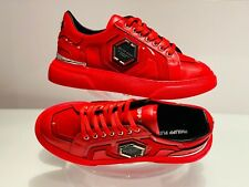 Philipp Plein Limited Edition Red Hexagon Low-Top Sneakers UK 7/EU 41/US 8