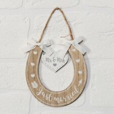 Just Married Mr and Mrs Horseshoe Plaque Sign Wedding Plaque
