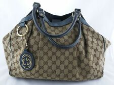 Gucci GG Sukey Large Bag Tote Shoulder Handbag Teal Dark Blue Leather Trim