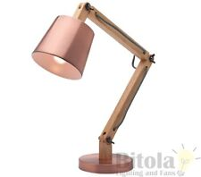 NEW MERCATOR PIPER TABLE LAMP DESK BEDSIDE TIMBER W/ COPPER METAL SHADE A33911