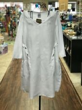 HLD1027 White Large NWT Match Point Linen Dress Flax Light Pockets Light NEW