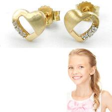 Mädchen Damen Herz Ohrstecker Zirkonia Kinder Ohrringe Echt Gold 333 8 Karat Neu
