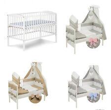Babybett Kinderbett Gitterbett 120x60 weiß m. Matratze +9 tlg.Bettwäsche Neu