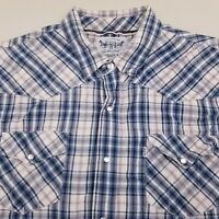 Levi's Mens Pearl Snap Western Shirt Short Sleeve Size XL Plaid White Blue Gray