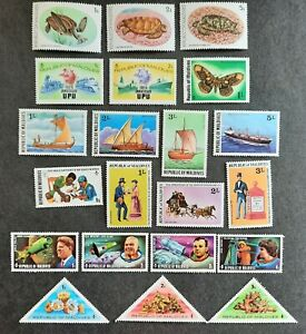 49 mostly unused stamps from the Maldives