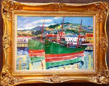 Original by Well Known Impressionist Elisee Maclet: Bateau a San Tropez, c. 1950