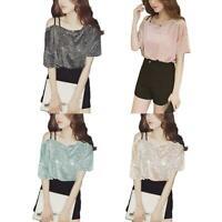Elegant Sequins Tops Women Fashion Half Sleeve Sling Casual Loose T-shirts #8Y