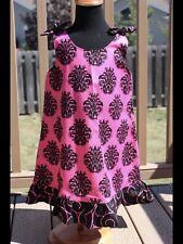 Strap Ruffle Dress With Damask Pattern Size 3/4 Hot Pink & Black