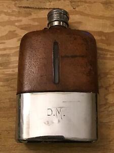 Vintage / antique silver plate & leather hip flask - James Dixon. Engraved D.M
