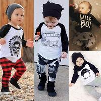2 Piezas Bebé Recién Nacido Niño Niña Ropa camiseta blusas + Pantalones trajes