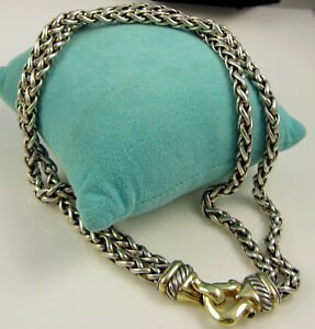 Estate David Yurman 14k Gold Sterling Silver Pink Tourmaline Buckle Necklace