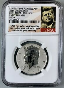 2014-W Silver Kennedy 50c * High Relief Reverse Proof * NGC PF70 * 50th Anni