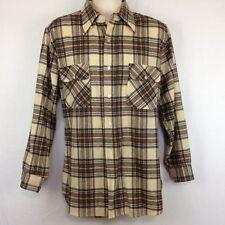 Vintage Pendleton Wool Board Shirt Brown Blue Beige Plaid Mens L