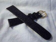 19 mm Speidel Black Lizard Grain Genuine Leather Mens 2-Pc.  Watch Band