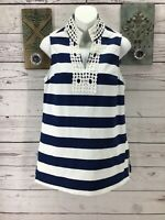 Mud Pie Tunic Top Womens Size Small 4 / 6  Blue Striped  Sleeveless  Blouse A13