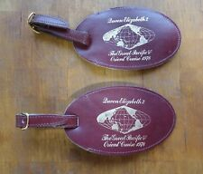 Cunard Queen Elizabeth 2 1978 Leather Pacific Cruise Luggage Tags - 2 tags