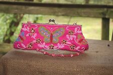 Butterfly Women's purse clutch bright pink colorful beaded floral gems sequins