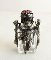 Vintage PERFUME BOTTLE Mini Sterling Silver Cupid Cherub Pink Stone