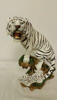 Growling Snow Tiger + Cub Collectible Wild Cat Animal Decoration Figurine Statue