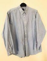 Mens GAP Classic Fit Blue Long Sleeve Oxford Shirt Regular Size L Fits Like Xxl