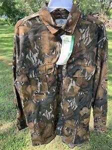 NOS Mossy Oak Fall Foliage Camo Cotton Flannel Long Sleeve Button Shirt Size Lg