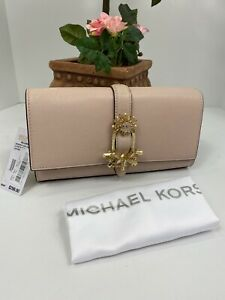 New Michael Kors Bellamie EW Large Clutch Soft Pink Leather Crystals  B2R