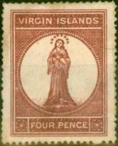 Virgin Islands 1867 4d Lake-Red SG16 Fine Unused
