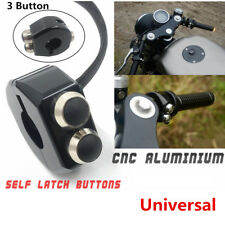 Black Self Latching Switch Motorcycle Handle Grips Reset Buttons Vibration-Proof