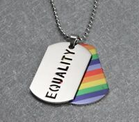 LGBT EQUALITY RAINBOW PENDANT STAINLESS STEEL DOG TAG NECKLACE GAY & LESBIAN