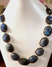 Solid 925 Sterling Silver Stunning Labradorite white Topaz Jewelry necklace