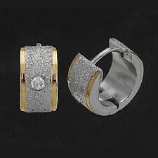 Titanium Titan Klappcreolen Creolen Kreolen Ohrringe Damen Bicolor Zirkonia Gold