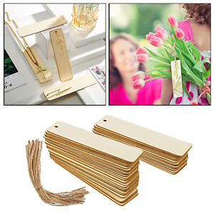 36Pieces Unfinished Rectangle Blank Wood Bookmarks Bulk with Holes DIY Tags