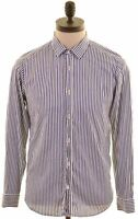 TED BAKER Mens Shirt Size 3 Medium Blue Striped Cotton  LD21